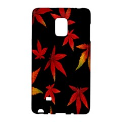 Colorful Autumn Leaves On Black Background Galaxy Note Edge
