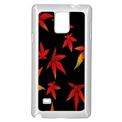 Colorful Autumn Leaves On Black Background Samsung Galaxy Note 4 Case (White)