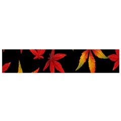 Colorful Autumn Leaves On Black Background Flano Scarf (small)