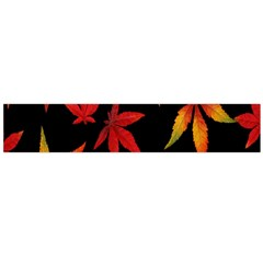 Colorful Autumn Leaves On Black Background Flano Scarf (Large)