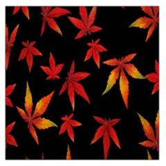 Colorful Autumn Leaves On Black Background Large Satin Scarf (square)