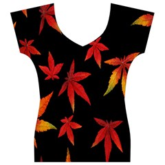 Colorful Autumn Leaves On Black Background Women s V-Neck Cap Sleeve Top