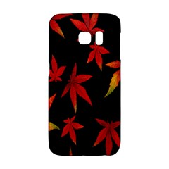 Colorful Autumn Leaves On Black Background Galaxy S6 Edge