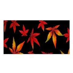 Colorful Autumn Leaves On Black Background Satin Shawl