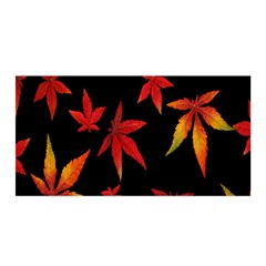 Colorful Autumn Leaves On Black Background Satin Wrap