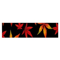 Colorful Autumn Leaves On Black Background Satin Scarf (Oblong)