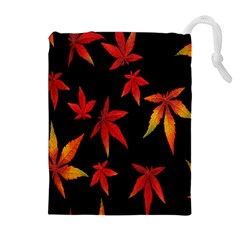 Colorful Autumn Leaves On Black Background Drawstring Pouches (extra Large)