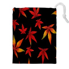 Colorful Autumn Leaves On Black Background Drawstring Pouches (xxl)