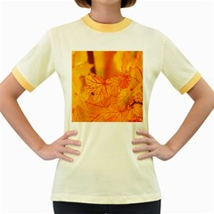 Bright Yellow Autumn Leaves Women s Fitted Ringer T-Shirts