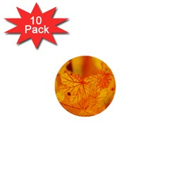 Bright Yellow Autumn Leaves 1  Mini Buttons (10 Pack)