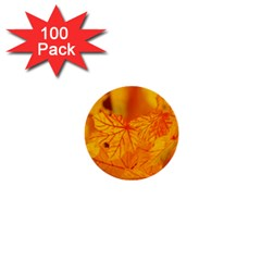 Bright Yellow Autumn Leaves 1  Mini Buttons (100 pack)