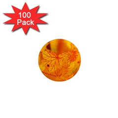 Bright Yellow Autumn Leaves 1  Mini Magnets (100 Pack)