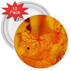 Bright Yellow Autumn Leaves 3  Buttons (10 Pack)