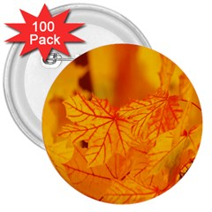 Bright Yellow Autumn Leaves 3  Buttons (100 Pack)