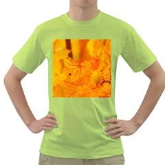 Bright Yellow Autumn Leaves Green T Shirt