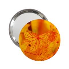 Bright Yellow Autumn Leaves 2.25  Handbag Mirrors