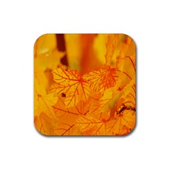 Bright Yellow Autumn Leaves Rubber Square Coaster (4 Pack)