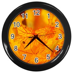 Bright Yellow Autumn Leaves Wall Clocks (black)