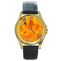 Bright Yellow Autumn Leaves Round Gold Metal Watch