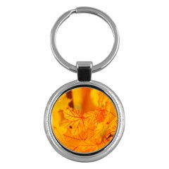 Bright Yellow Autumn Leaves Key Chains (Round)