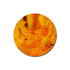 Bright Yellow Autumn Leaves Rubber Round Coaster (4 Pack)