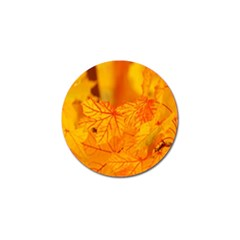 Bright Yellow Autumn Leaves Golf Ball Marker