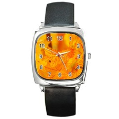 Bright Yellow Autumn Leaves Square Metal Watch