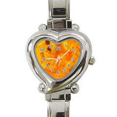 Bright Yellow Autumn Leaves Heart Italian Charm Watch