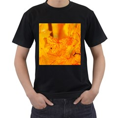 Bright Yellow Autumn Leaves Men s T-Shirt (Black) (Two Sided)