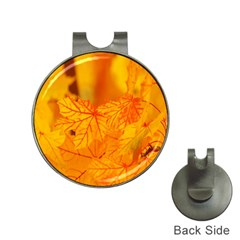 Bright Yellow Autumn Leaves Hat Clips With Golf Markers