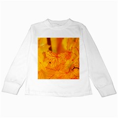 Bright Yellow Autumn Leaves Kids Long Sleeve T Shirts