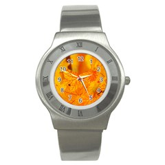 Bright Yellow Autumn Leaves Stainless Steel Watch