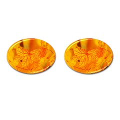 Bright Yellow Autumn Leaves Cufflinks (oval)