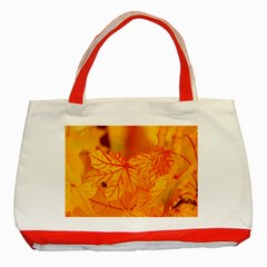 Bright Yellow Autumn Leaves Classic Tote Bag (red)