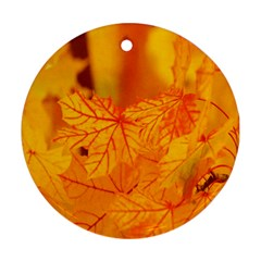 Bright Yellow Autumn Leaves Round Ornament (Two Sides)