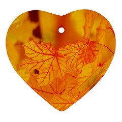 Bright Yellow Autumn Leaves Heart Ornament (two Sides)