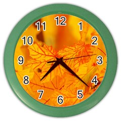Bright Yellow Autumn Leaves Color Wall Clocks