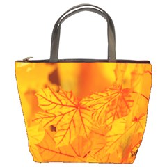 Bright Yellow Autumn Leaves Bucket Bags