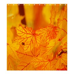 Bright Yellow Autumn Leaves Shower Curtain 66  x 72  (Large)