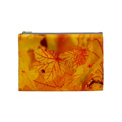 Bright Yellow Autumn Leaves Cosmetic Bag (medium)