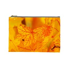 Bright Yellow Autumn Leaves Cosmetic Bag (large)