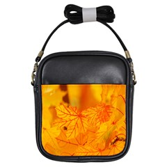 Bright Yellow Autumn Leaves Girls Sling Bags