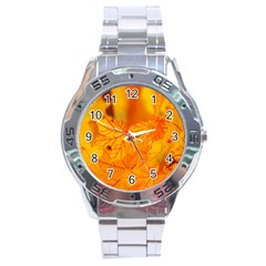 Bright Yellow Autumn Leaves Stainless Steel Analogue Watch