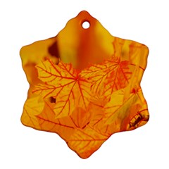 Bright Yellow Autumn Leaves Snowflake Ornament (two Sides)