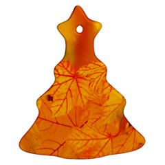 Bright Yellow Autumn Leaves Christmas Tree Ornament (two Sides)