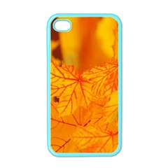 Bright Yellow Autumn Leaves Apple Iphone 4 Case (color)