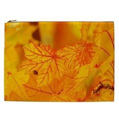 Bright Yellow Autumn Leaves Cosmetic Bag (xxl)
