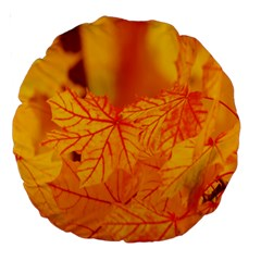 Bright Yellow Autumn Leaves Large 18  Premium Round Cushions