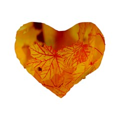 Bright Yellow Autumn Leaves Standard 16  Premium Heart Shape Cushions