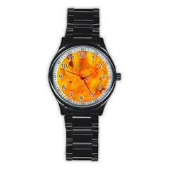 Bright Yellow Autumn Leaves Stainless Steel Round Watch